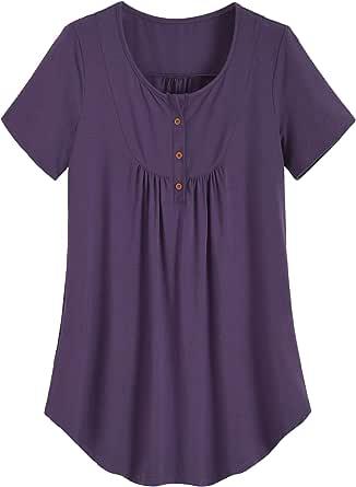 Latuza Women's Pleated Tunic Shirt Plus Size Flowy Top