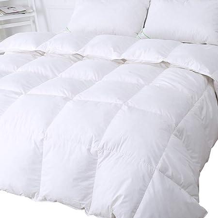 Duo V Home Piumone in piuma e piumetta d'oca, 13,5 Tog, rivestito in tessuto 100% cotone, antiacaro ea tenuta di piuma colore: bianco , Oca