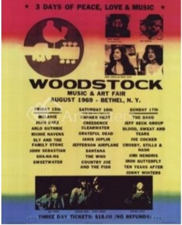 Woodstock Sticker Peace Love Music 1969 Jimi Hendrix Joplin Santana Festival