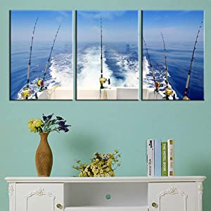Angling Art Work for Home Walls Fishing Tackle Pictures Reel and Rod Paintings Seascape Big Wave Wall Art 3 Pieces Printed on Canvas Framed Gallery-Wrapped Ready to Hang in Living Room(42''Wx20''H)