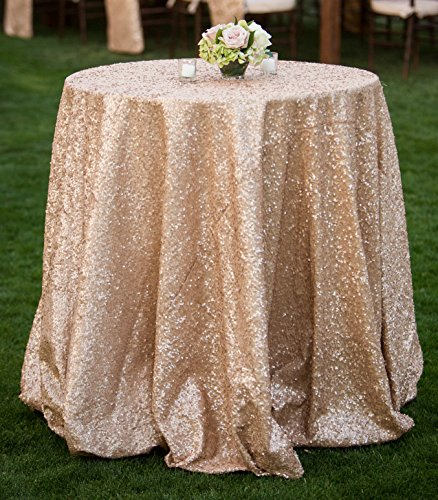 ShiDianYi Champagne Blush Sparkly Sequin Tablecloth for Wedding (108'' - Polyester Tablecloth 108' Round