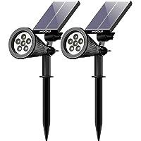 Mpow 6 LED Garten Solarleuchten für Außen, Outdoor Wandleuchte, Helle Garten Solar Licht, 2 Beleuchtungsmodi, Wasserdicht, Sicherheitsbeleuchtung, Großes Außenlicht Solarlampe Aussen für Garte, Hof