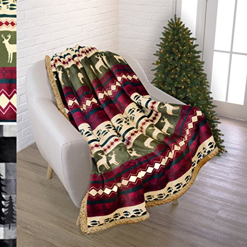 "Christmas Gifts - Holiday Premium Plush Sherpa Throw Christmas Blanket by Pavilia | Soft, Warm, Cozy, Lightweight Microfiber | Perfect Gift Idea For Christmas Holidays | 50"" x 70"" (Red)"