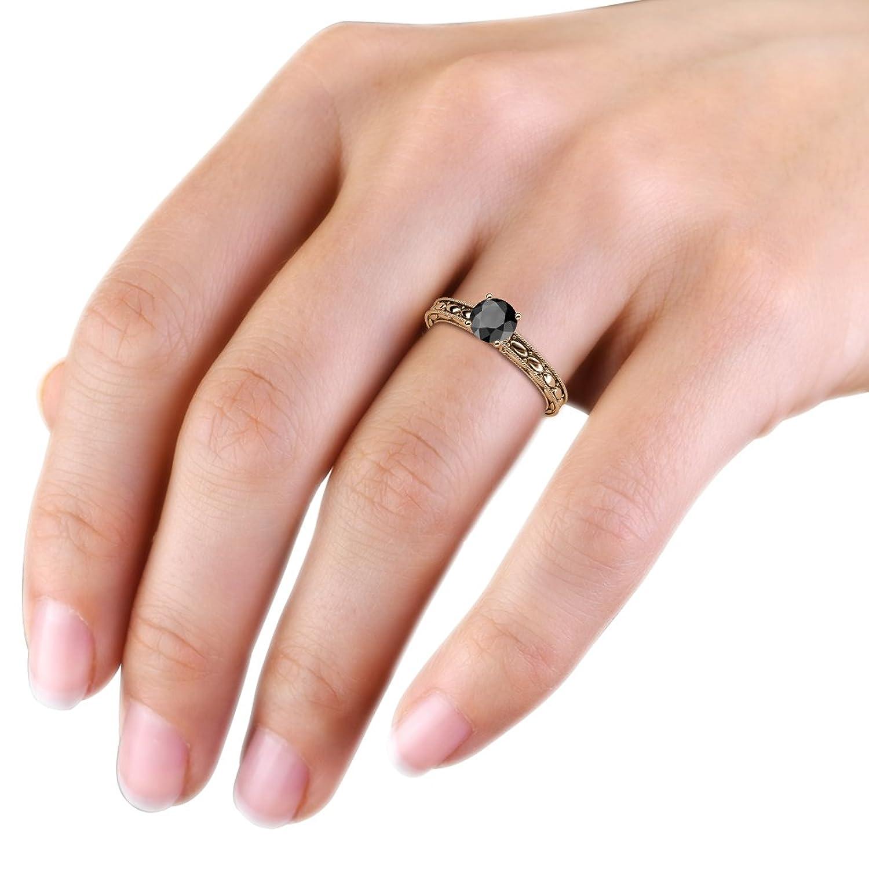 Black Diamond 6mm Milgrain Work Marquise Design Solitaire Engagement ...
