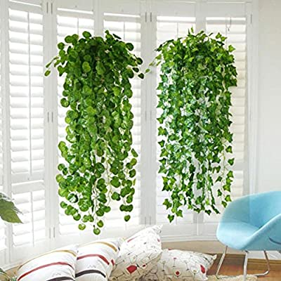 XHSP 2pcs Artificial Green Ivy Vine Potato Leaves Garland Plants Vine Fake Foliage Home Decor,35""