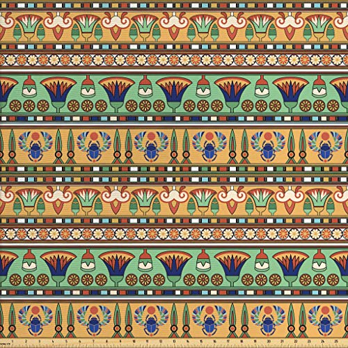 Ambesonne Egyptian Fabric by The Yard, Ethnic Motifs Pattern with Lily Flower and Scarab Figures Abstract Artistic Design, Decorative Fabric for Upholstery and Home Accents, 3 Yards, Multicolor -