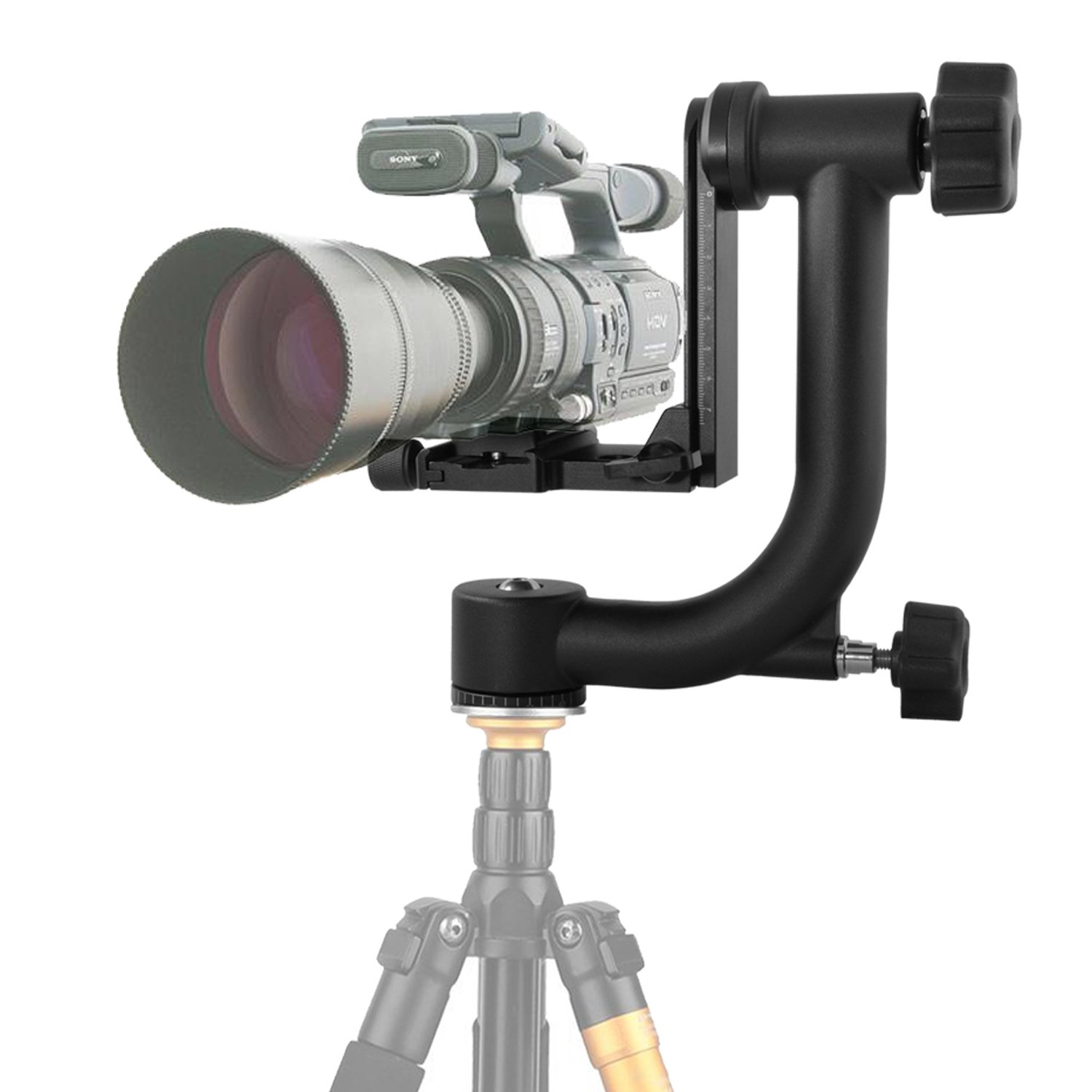 pangshi Professional Gimbal Tripod Head with Arca-Swiss Quick-Release Plate
