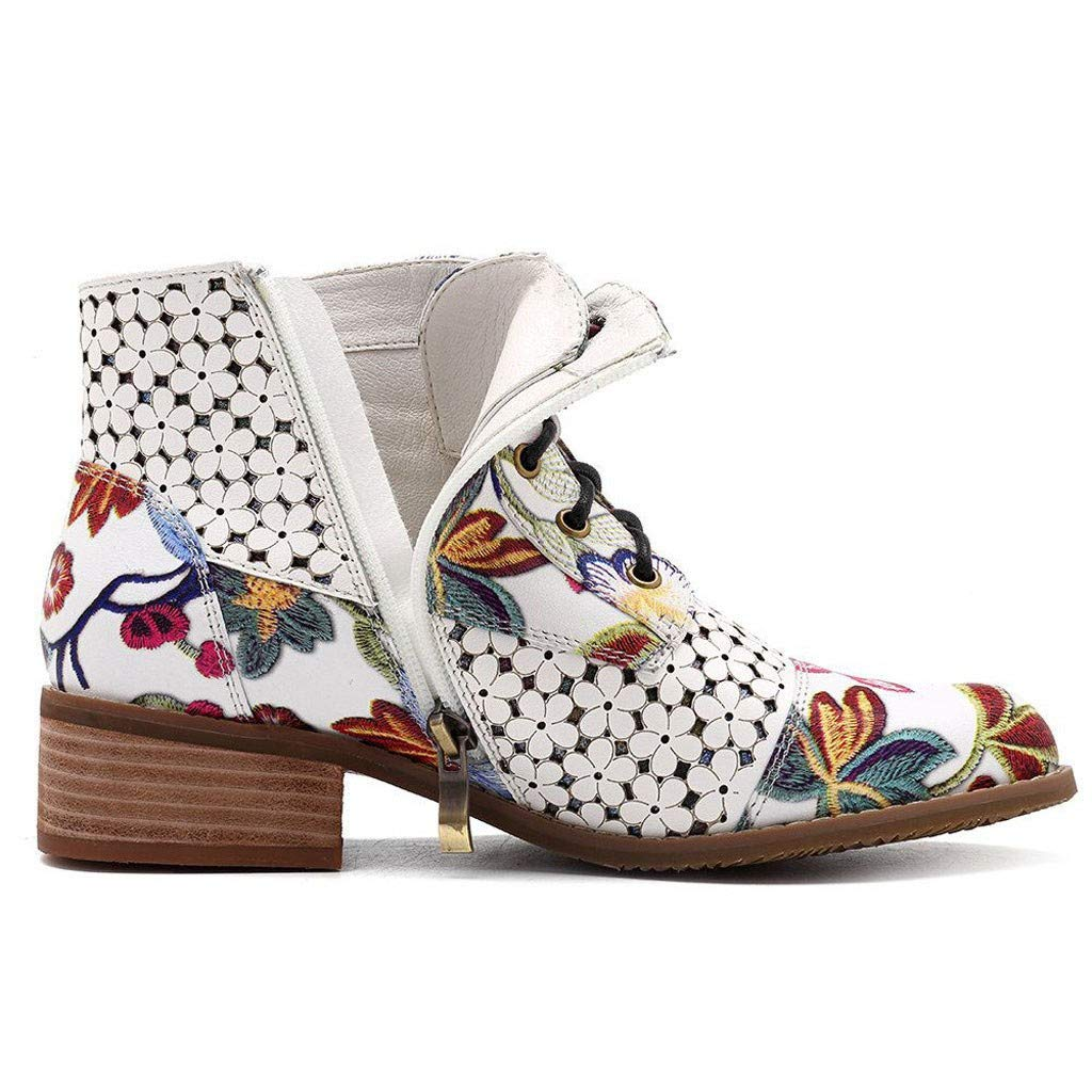 Toimothcn Women Low Heel Flat Boots Ink Flower Pattern Cowboy Shoes Lace Up Ankle Bootie