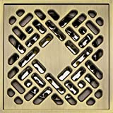 Hanghans Deodorat Floor Drain Bathroom Tile Insert Floor Drainer with Removable Strainer Cover antique brass plating Finish Anti-clogging for Kitchen, Washroom, Garage and Baseme(4 inch x 4 inch)