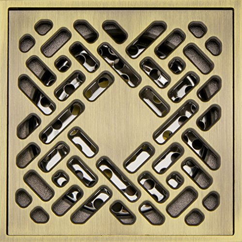 Antique Brass Plating - Hanghans Deodorat Floor Drain Bathroom Tile Insert Floor Drainer with Removable Strainer Cover antique brass plating Finish Anti-clogging for Kitchen, Washroom, Garage and Baseme(4 inch x 4 inch)