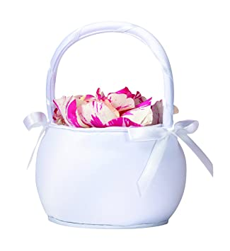 df898cc0554 Amazon.com  Lillian Rose Round Satin Flower Girl Basket White  Home ...