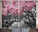 Ambesonne NYC Decor Collection, Blossoms In Central Park Cherry Bloom Trees Forest Spring Springtime Landscape Picture, Living Room Bedroom Curtain 2 Panels Set, 108 X 90 Inches, Pink Gray Review