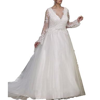 Ainisha Women\'s Long Sleeves Lace Plus Size Wedding Dresses Lace ...