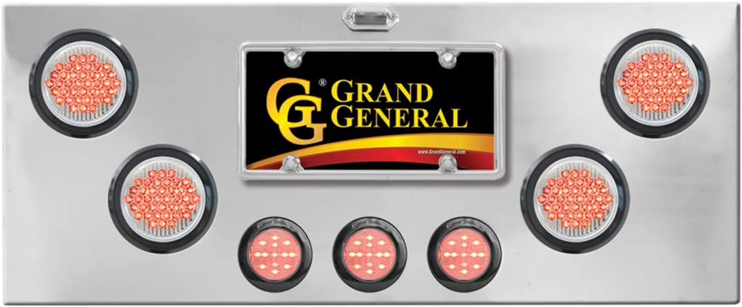 U Bracket GG Grand General 91570 Red//Clear Chrome Plated Rear Light Panel with 4 inches and 2-1//2 inches LED Lens