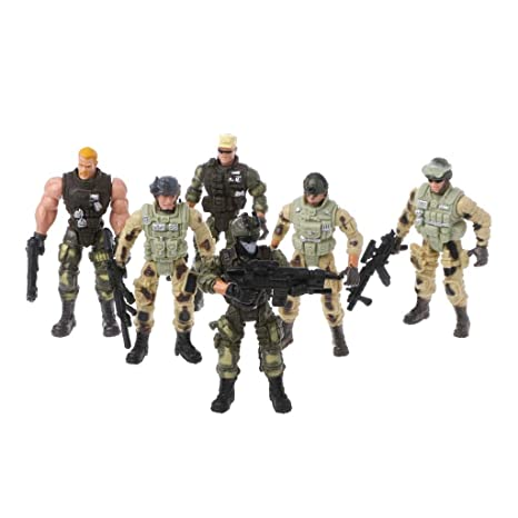 Figures D'enfant De Soldats Figurine Militaires Arme Set L'armée Tandou 6pcs Avec Jouet 29EDWHYI
