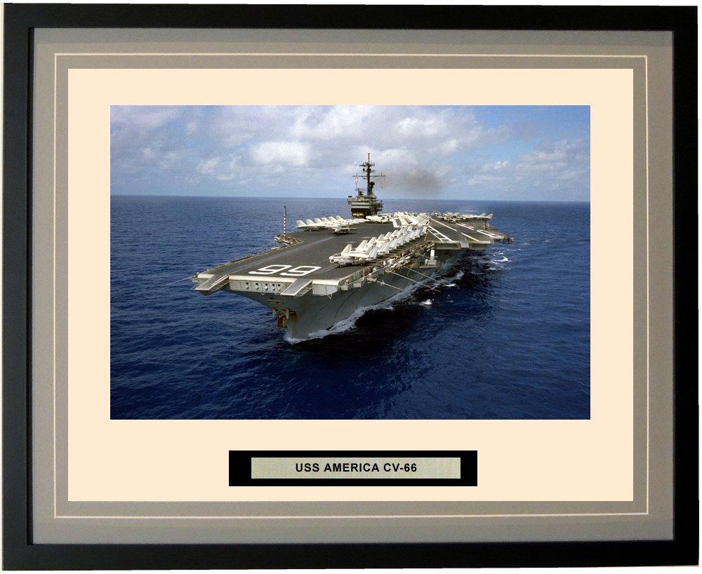 Navy Emporium - USS America CV-66 - Framed - Photo - Engraved Ship Name - Double Mat - Photograph - 16 X 20 - 190CV66Grey