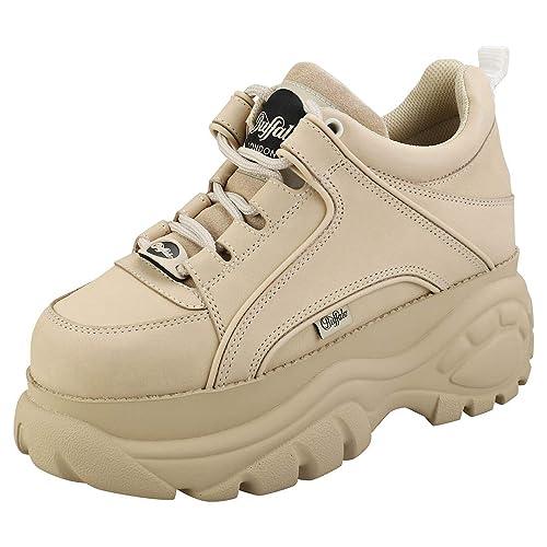 Buffalo London Women's Classic Kicks Sneakers, Cream, Off White, 7.5 Medium US
