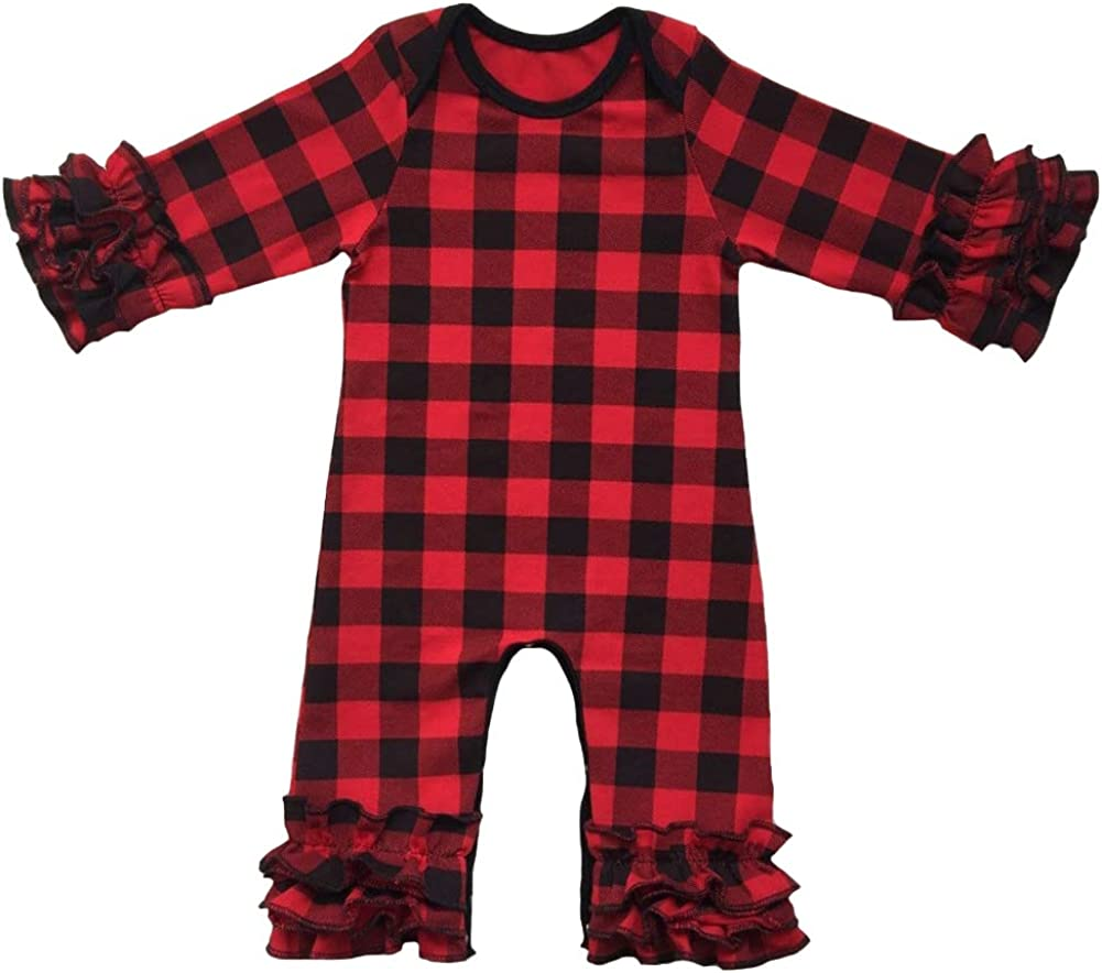 ODASDO Baby Girls Ruffle Rompers One-Piece Long Sleeve Pajamas Jumpsuit Solid Bodysuit Coming Home Outfit 0-24 Months