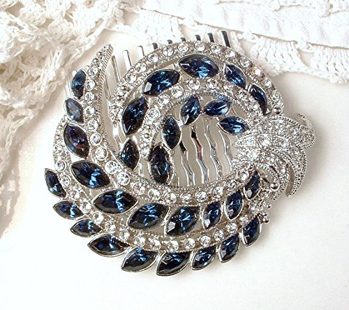 Great Gatsby Sapphire Blue Rhinestone Bridal Hair Comb, Navy Crystal Wedding Hairpiece Handmade from Vintage Brooch