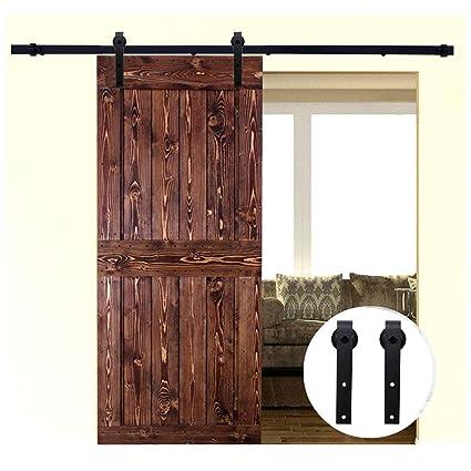 Amazon Lwzh 9ft Sliding Barn Door Hardware Kit For Single Door
