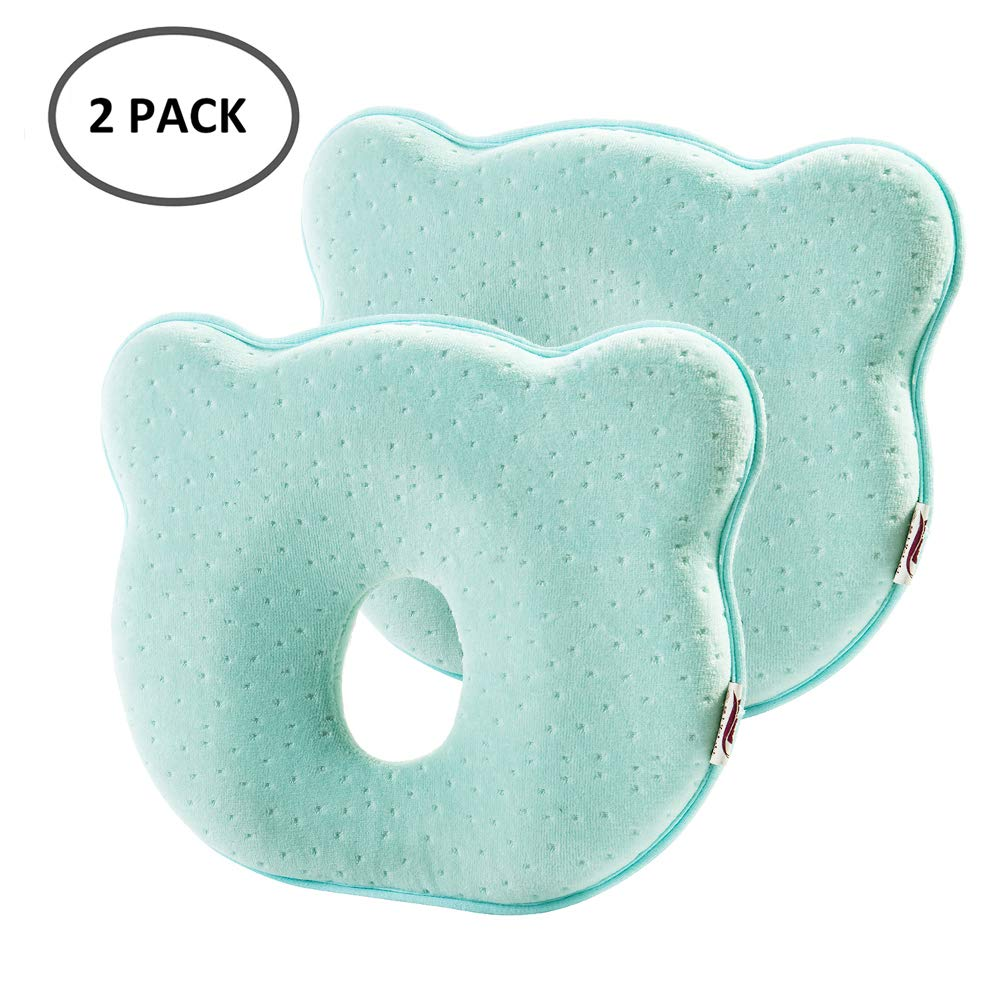 Universal in Crib 0-12 Months Baby Head Pillow Infant Head-Shaping Pillow Head Positioner Neck Support Prevent Flat Head Pink /& Yellow, 2 Pack
