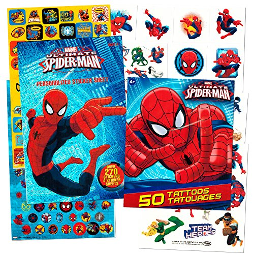 Spiderman Stickers & Tattoos Party Favor Pack (270 Stickers & 50 Temporary Tattoos)