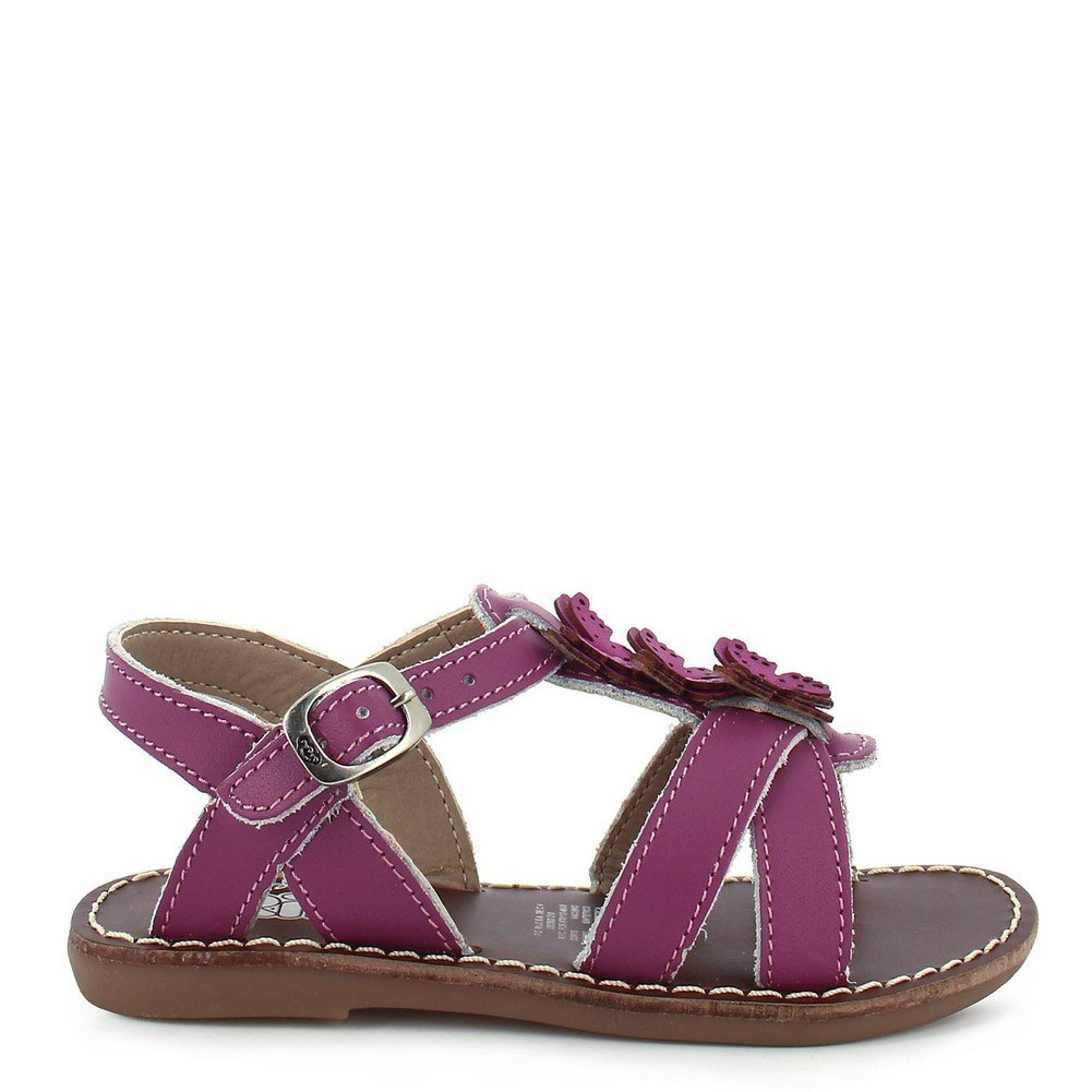 Rilo Little Girls Purple T-Strap Buckle Closure Leather Sandals 8-10.5 Toddler