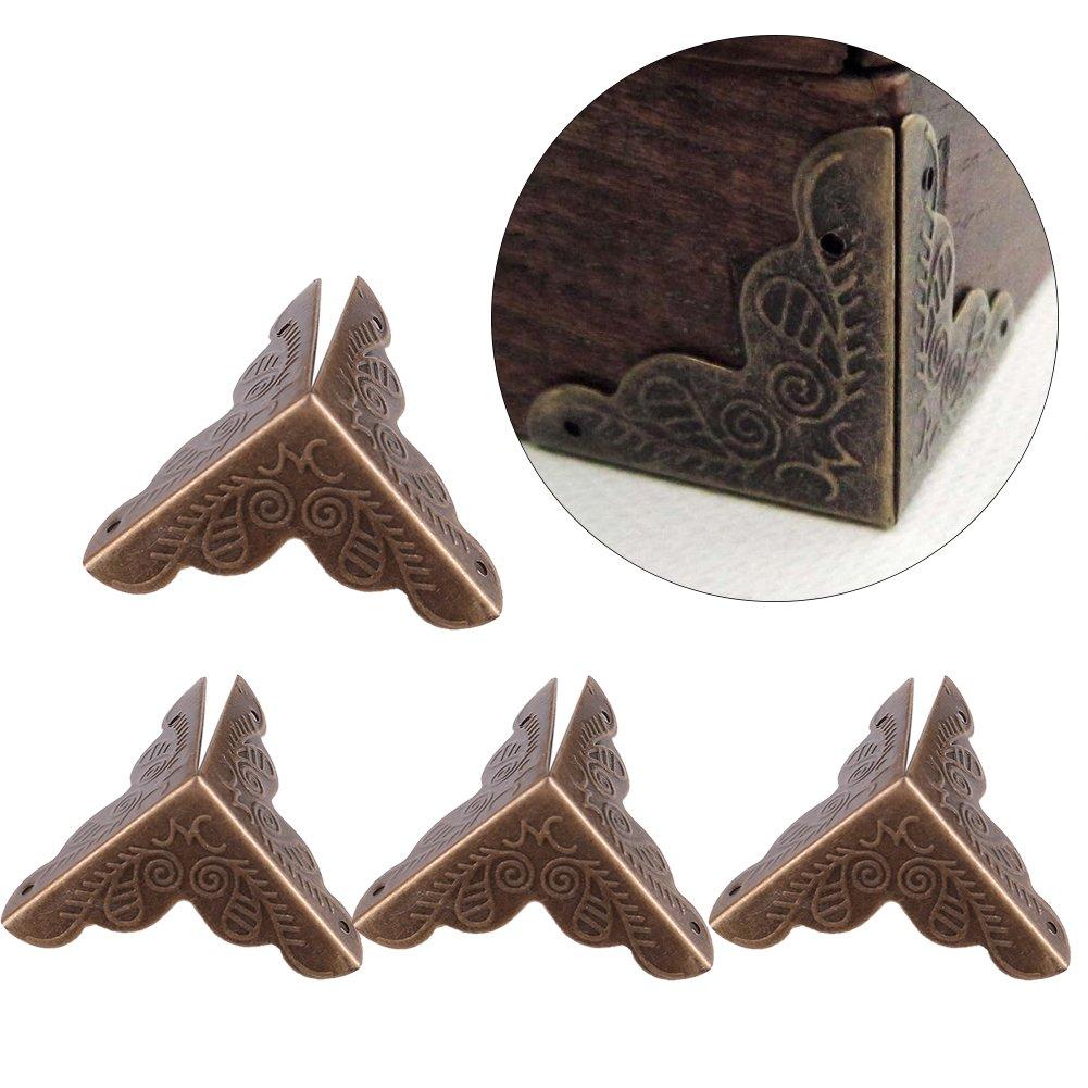 Haofy 12pcs protezioni decorative d'angolo per la cassa del regalo dei gioielli della scatola del metallo, paraurti di sicurezza del bordo del banco Guardia della copertura del bordo del ferro(Gold)