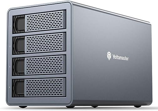 Yottamaster Aluminio Carcasa para 4 Discos Duros de 3.5″/2.5″ SATA, Carcasa Externa 4 bahías con supervelocidad USB 3.0 5Gbps, Ventilador de 80mm: Amazon.es: Electrónica