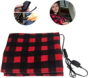 Hamosky Electric Heating Blanket, 12V Lattice Fleece Car Supplies Winter Hot Car Constant Temperature Heating Blanket for Travel Camping Picnic Heater 55.12x39.37in/145x100cm (Red Blanket)