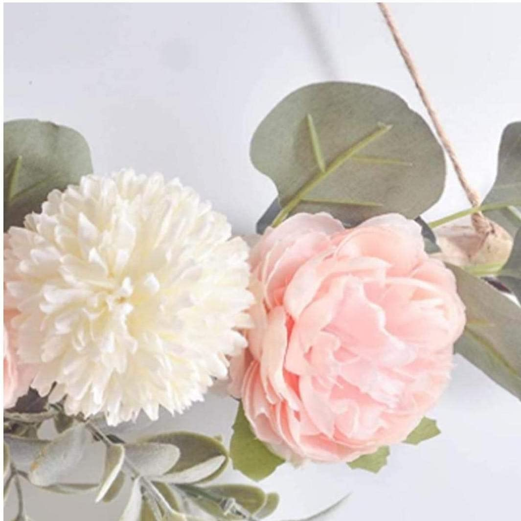 tJexePYK Wandbehang Blumenmetall Hoop Ringe Kr/änze Wihte Rosa K/ünstliches Peony Dreieck,Hoop Kranz H/ängen Ornanment f/ür Wohnzimmer Schlafzimmer Wand-T/ür