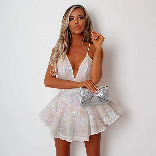 Błyszcząca sukienka damska, wieczorowa, z cekinami, seksowna sukienka z cekinami, bez rękawÓw, z głębokim dekoltem w serek, krÓtka sukienka koktajlowa, dla druhny, na wesele, z cekinami, od&