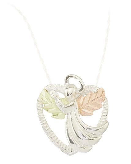 ccfbf4123017f Amazon.com: Diamond-Cut Angel Heart Pendant Necklace, Sterling ...