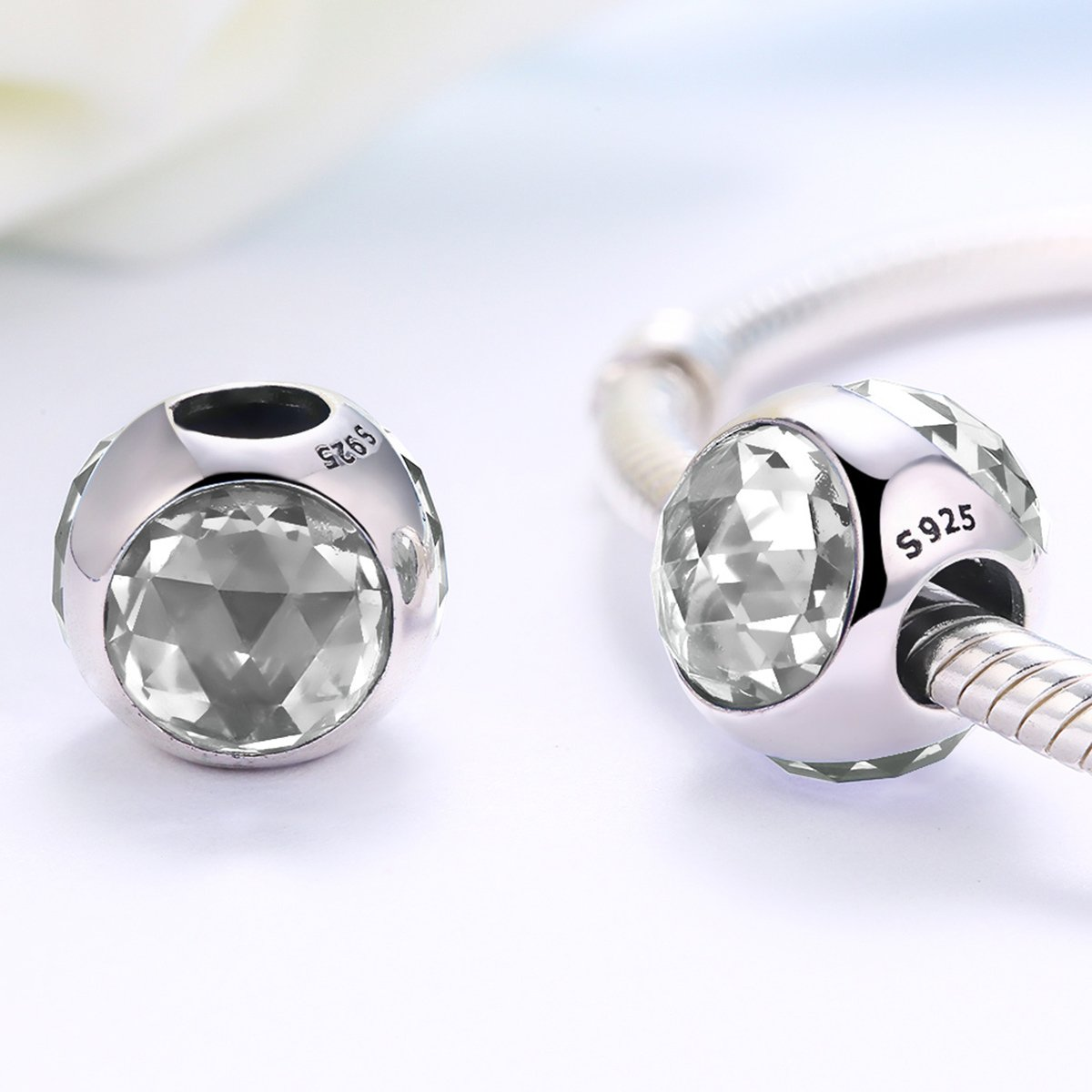 Everbling Radiant Hearts Touch of Color Pave Charm Gorgeous CZ Flower 925 Sterling Silver Bead Fits European Charm Bracelet