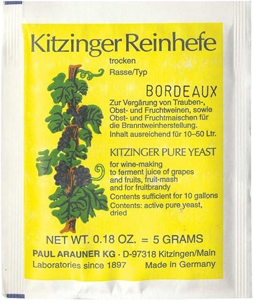 Kitzinger arauner levadura seca para el vino weinhefe reinhefe 100 gramos