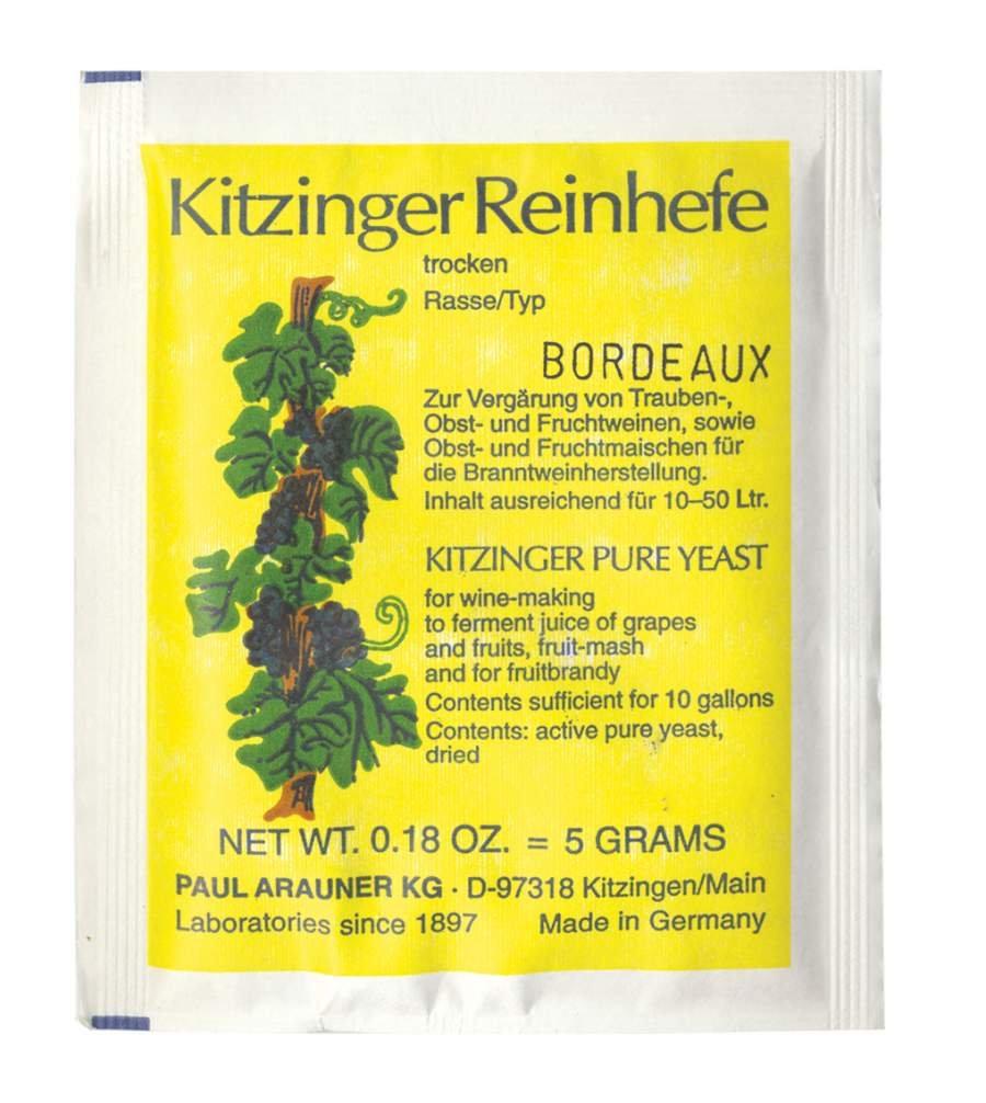 WEINHEFE BORDEAUX Arauner Kitzinger – Trocken Reinhefe für 50L | Naturhefe | Obstwein hefe | Hefenährsalz | Alkoholhefe | Methefe | Apfelweinhefe AlcoFermBrew