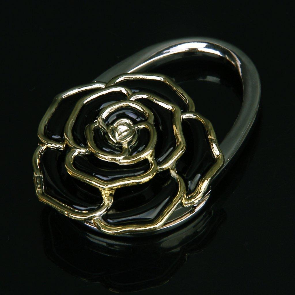 Folding Handbag Purse Bag Hanger Table Hook Hang Rose Flower Shape Black