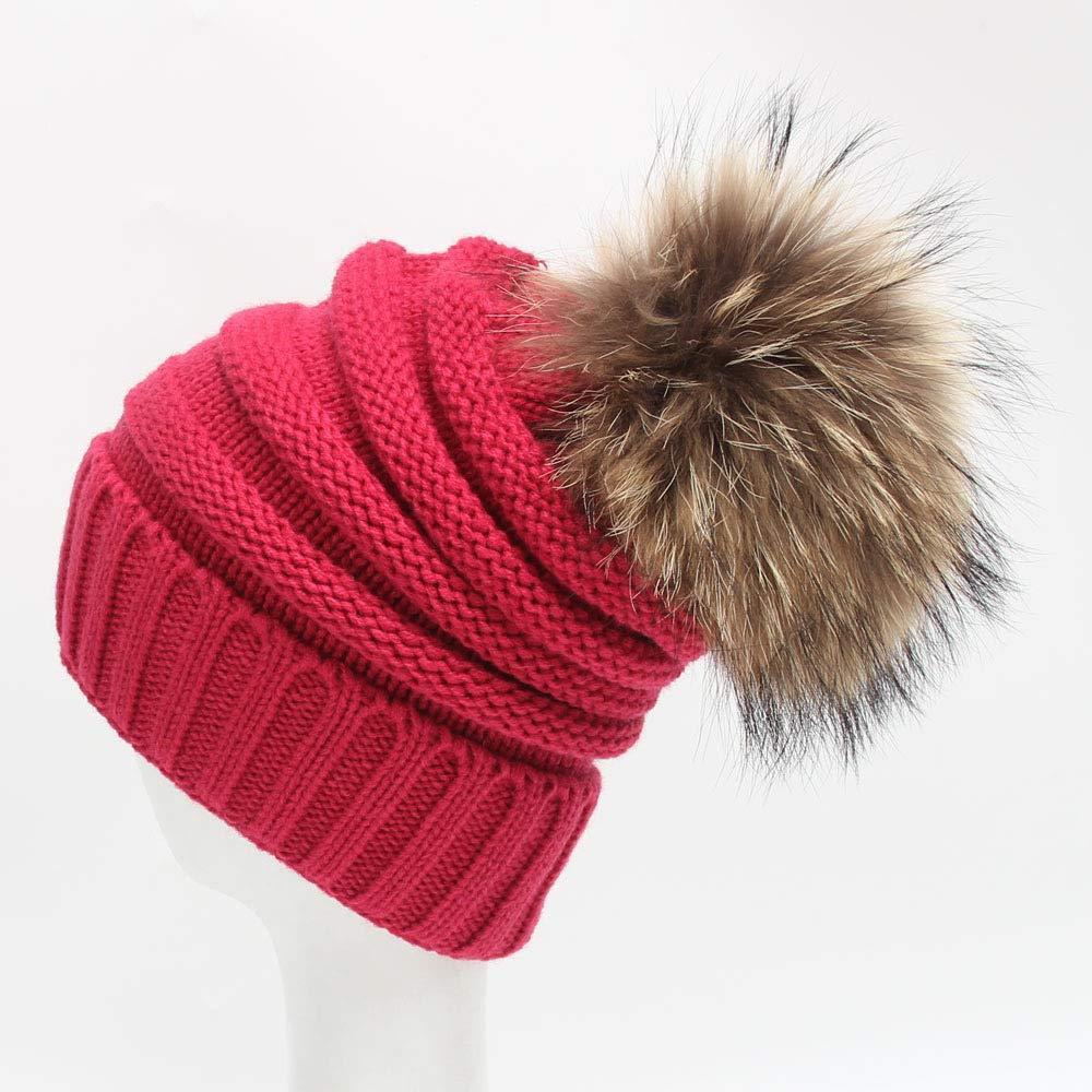 Hot rose  FUWUX Home Chapeaux tricotés de Bonnets en Laine décoratifs d'hiver de Superbes Boules de Cheveux d'hiver Superbes de 15cm (Couleur   noir)