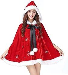 Tanpell Women s Christmas Cardigan Cloak Deluxe Velvet Beaded Mrs Santa  Hooded Cape Costume 6edf9cb42561