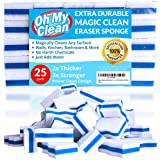 (25 Pack) Extra Durable Magic Cleaning Eraser Sponge - 2x Thick, 3x Stronger Melamine Sponges in Bulk - Multi Surface Power Scrubber Foam Pads - Bathtub, Floor, Baseboard, Bathroom, Wall Cleaner
