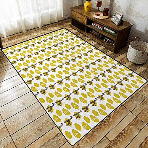 Kids Rug,Giraffe Safari Wild Animal Art Pattern with Green Spots for Baby Kids,Super Absorbs Mud,4'11