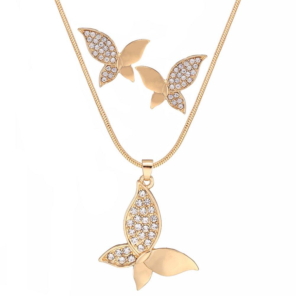 Da.Wa 1 Satz Damen Nachahmung Diamant Schmetterlinge Stil Halskette und Ohrringe Kleidung Zubehör Geeignet für Partys/Termine/Hochzeiten und Alltägliche Veranstaltungen