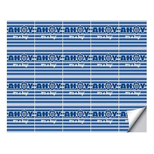 (YOLIYANA Ahoy Its a Boy Stylish Ceramic Tile Stickers 20 Pieces,Baby Shower New Birth Announcement Marine Wheel Striped Backdrop for Home Restaurant,7.8