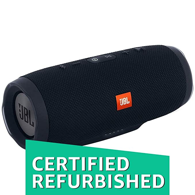 (Renewed) JBL Charge 3 Powerful Portable Speaker with Built-in Powerbank (Black) Bluetooth Speakers at amazon