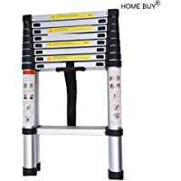 HOME BUY Aluminium Folding Step Ladder Portable and Compact 7-Steps Telescopic 2 m Foldable for Household and Outdoor Purpose, Large, Multicolour