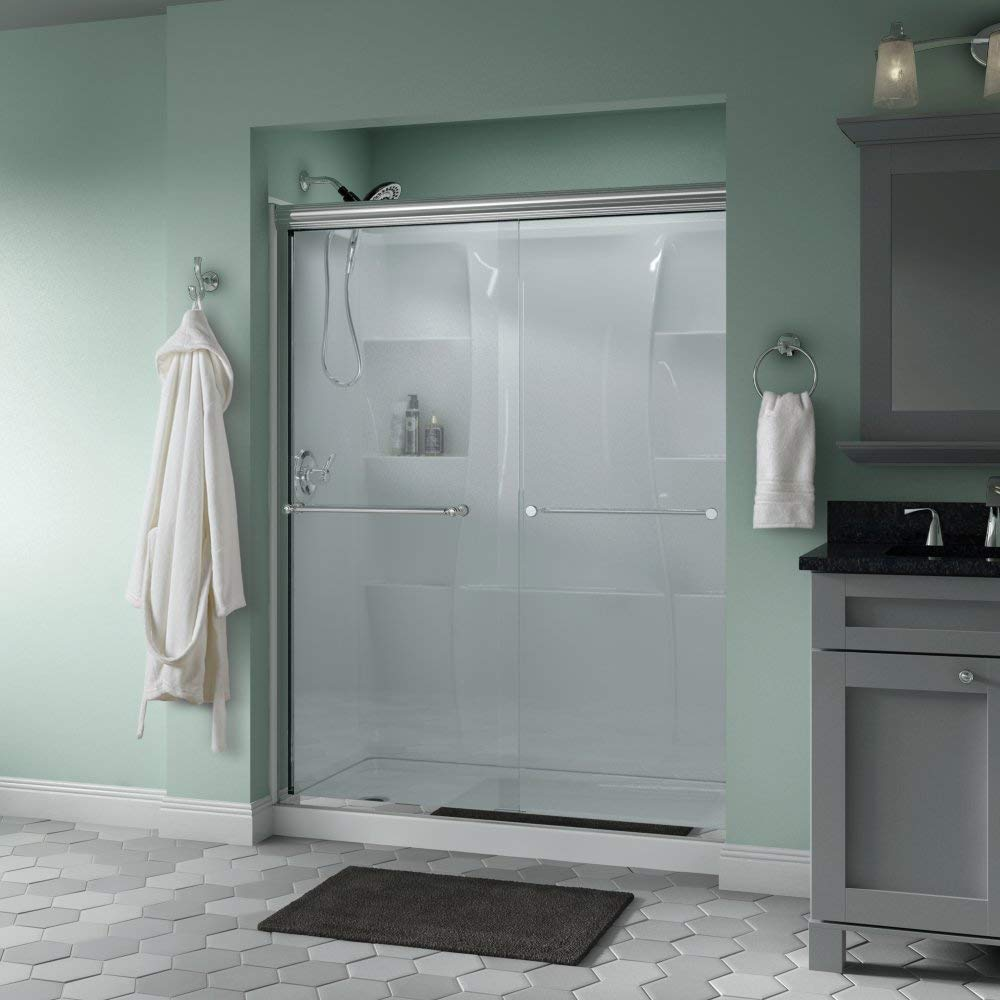 Delta Shower Doors Sd3172279 Linden 60 X 70 Semi Frameless Traditional Sliding Door In Chrome With Clear Glass Com