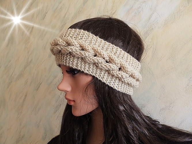 Amazon Beige Hand Knitted Cable Skiing Headband Ear Warmer