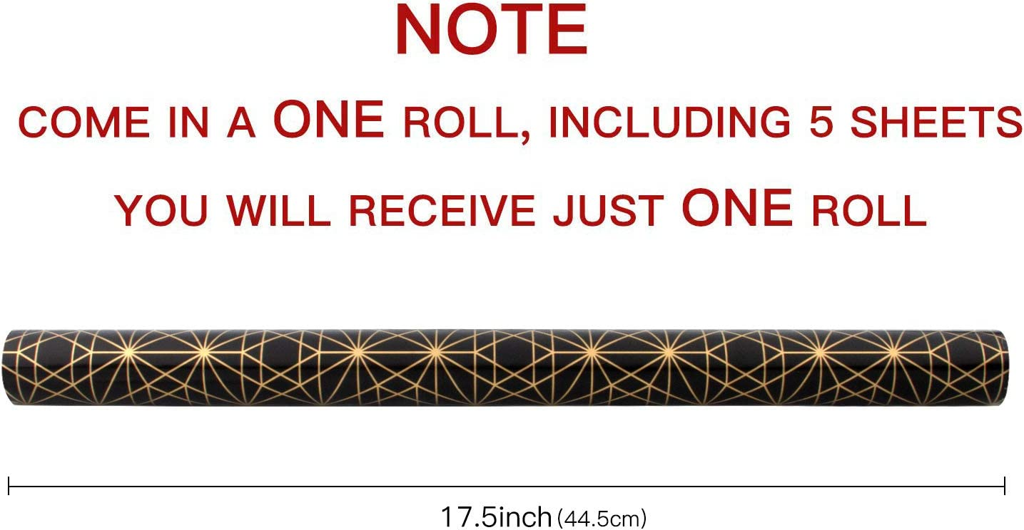 Compleanni Natale-5 Rotolo-76 X 305 CM per Rotolo-Nero RUSPEPA Rotoli di Carta da Regalo in Carta da Regalo-Lamina Nera E Oro per Matrimoni San Valentino