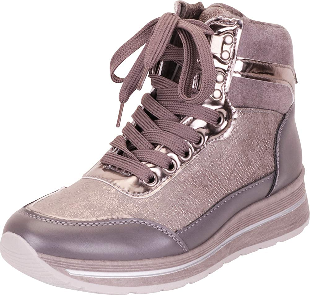 Grey Cambridge Select Women's High Top Lace-Up Chunky Platform Fashion Sneaker