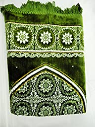 International Goods Depot Muslim Pray Rug Namaz Sajadah Mat Series (Dodya Thick Gold-Green 45\